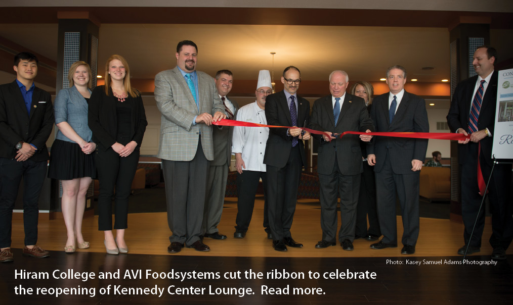 Hiram College and AVI Foodsystems cut ribbon to celebrate Kennedy Center Lounge