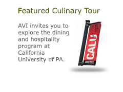 Featured Culinary Tour. CALU featured culinary tour AVI invites you to explore the dining and hospitality program at California University of PA.