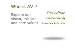Who is AVI? Our Culture. What we live by. What we believe in. Explore our vision, mission and core values.